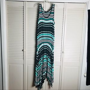 Spence Black Green White Striped Maxi Tank Dress.
